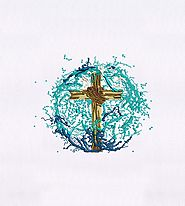 Water Splashing Wooden Cross Embroidery Design | EMBMall