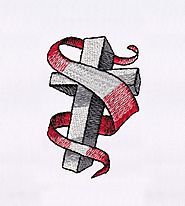 Red Ribbon Swirling Cross Embroidery Design | EMBMall