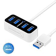 Sabrent 4 Port Mini Portable USB 3.0 Hub [2-ft cable] the World's Smallest USB 3.0 Hub (HB-MNBW)