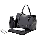 OiOi - Tote Baby Changing Bag - Jet Black Patent Leather with Buckle