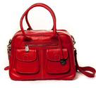 Lin&Leo Baby Changing Bag - Red Leather