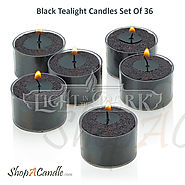 Black Tealight Candles Set Of 36 With Clear Cup On Shopacandle