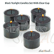 Black Unscented Tealight Candles Set With Holder At Shopacandle