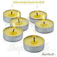Citronella Yellow Tealight Candles Set Of 50 At Shopacandle