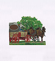 Horse Carriage and Cowboys Scenery Embroidery Design | EMBMall