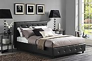 DHP Dakota Platform Bed with Tufted Upholstery in Faux Leather, Stylish Headboard, Includes Side Rails, Full Size, Black