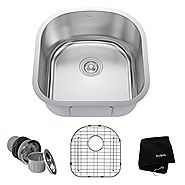 Kraus KBU15 20 inch Undermount Single Bowl 16 gauge Stainless Steel Kitchen Sink