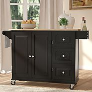 Hardiman Kitchen Island with Wood Top & Reviews | Birch Lane