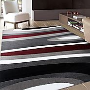 "Rugshop Abstract Contemporary Modern Area Rug, 5' 3"" x 7' 3"", Gray/Red"