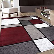 "Rugshop Contemporary Modern Boxes Area Rug, 7' 10"" x 10'2"", Red"