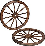 Decorative Vintage Wood Garden Wagon Wheel With Steel Rim by Trademark Innovations | Lavorist