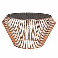 Abbyson Living Emma Stainless Steel Coffee Table in Rose Gold | Lavorist