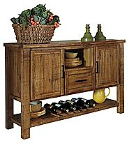 Ashley Furniture Signature Design - Krinden Dining Room Serving Table - Rustic Style with 6 Bottle Wine Rack - Light ...