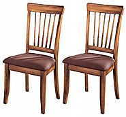 Ashley Furniture Signature Design Berringer Dining UPH Side Chair, Hickory Stain Finish, Set of 2 | Lavorist
