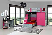 Cute Designer Bunk Bed: Stairs with chest of drawers, 2 door wardrobe, children's bed and a study desk