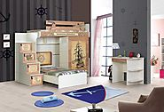 Contemporary Barbaros Bunk Bed: Stairs with chest of drawers, 2 door wardrobe, children's bed and a study desk