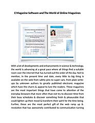 E magazine software and the world of online magazines by Page Turn Pro