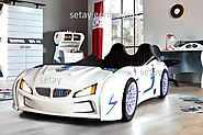 BMW M3 WHITE KIDS CAR BED with REAR RAISED LEATHER SEATS and LED LIGHTS