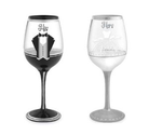 """His and Her"" - Set of 2 Hand Painted Wedding Wine Glasses, 16 Oz : Amazon.com : Kitchen & Dining"