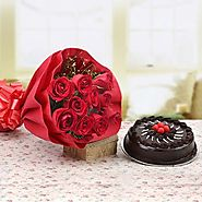 10 Red Rose 1 Truffle cake 500gms Red Paper Packing