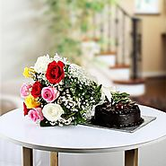 Buy 8Mix Roses and Half Kg Cake Online Same Day Delivery - OyeGifts.com