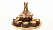 Vintage wine decanter and shot glasses set in melchior. Wine serving set. Made in USSR. Brown patina brass gold colored