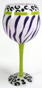 Hand Painted Animal Print Wine Glass, One of Four Different Styles, Holds 18 Oz : Amazon.com : Kitchen & Dining