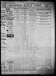 Primary Color/Filler The Houston Daily Post (Houston, Tex.), Vol. XVIth YEAR, No. 286, Ed. 1, Tuesday, January 15, 19...