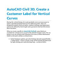 AutoCAD Civil 3D. Create a Customer Label for Vertical Curves by Excitech