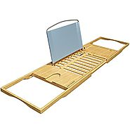 Bath Dreams Bamboo Bathtub Caddy Tray with Extending Sides