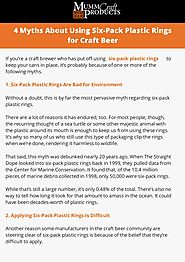 4 myths about using six pack plastic rings for craft beer