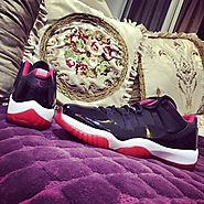 Red black and white jordans 11