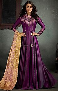 Buy Captivating Purple Stitched Ceremonial A-Line Floor Length Gown