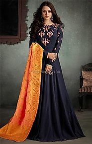 Buy Convincing Dark Blue Viscose Stitched Designer Long Floral Gown