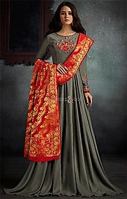 Buy Crafty Floral Shadow Brown Stitched Long Viscose Gown For Function
