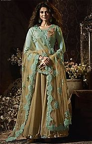 Indian Actress Jennifer Winget Exhibit Beige Green Empire Waist Gown