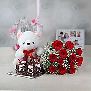 A Bunch of 12 Red Roses with Half Kg Black Forest Cake and Teddy Bear