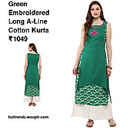Green Embroidered Long A-Line Cotton Kurta
