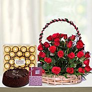 Buy/Send Red Basket Hamper Online Same Day Delivery - OyeGifts.com