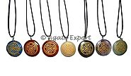 Engraved Wheel Disc Chakra Set Pendants