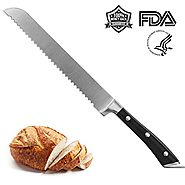 Bread Knife High Carbon Stainless Steel Wide Slicer Serrated Professional Knifes Sharp Blade Serrated Offset Ergonomi...