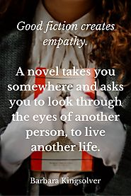 This image provides a quote about empathy in literature from author Barbara Kinglover