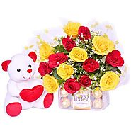 Buy/Send Teddy With A Heart Online - YuvaFlowers.com