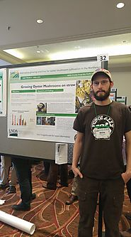Willie Crosby of Fungi Ally, Hadley MA highlights his project results in a poster session at national SARE conference.