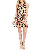 B. Darlin Tropical Floral Print Fit-And-Flare Dress | Dillards