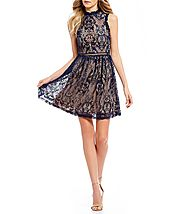 Jodi Kristopher Two-Tone Lace Fit-And-Flare Dress | Dillards