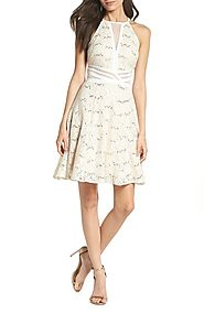 Morgan & Co. Sheer Inset Lace Fit & Flare Dress | Nordstrom