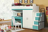 Bueno Turquoise: Bunk Bed, 2 door under bunk bed wardrobe, Children's Bed and a Study Desk