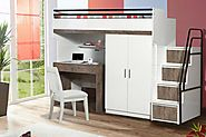 Bueno Walnut: Bunk Bed, 2 door under bunk bed wardrobe, Children's Bed and a Study Desk