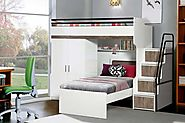 Bueno Walnut: Bunk Bed, 2 door under bunk bed wardrobe and a Children's Bed